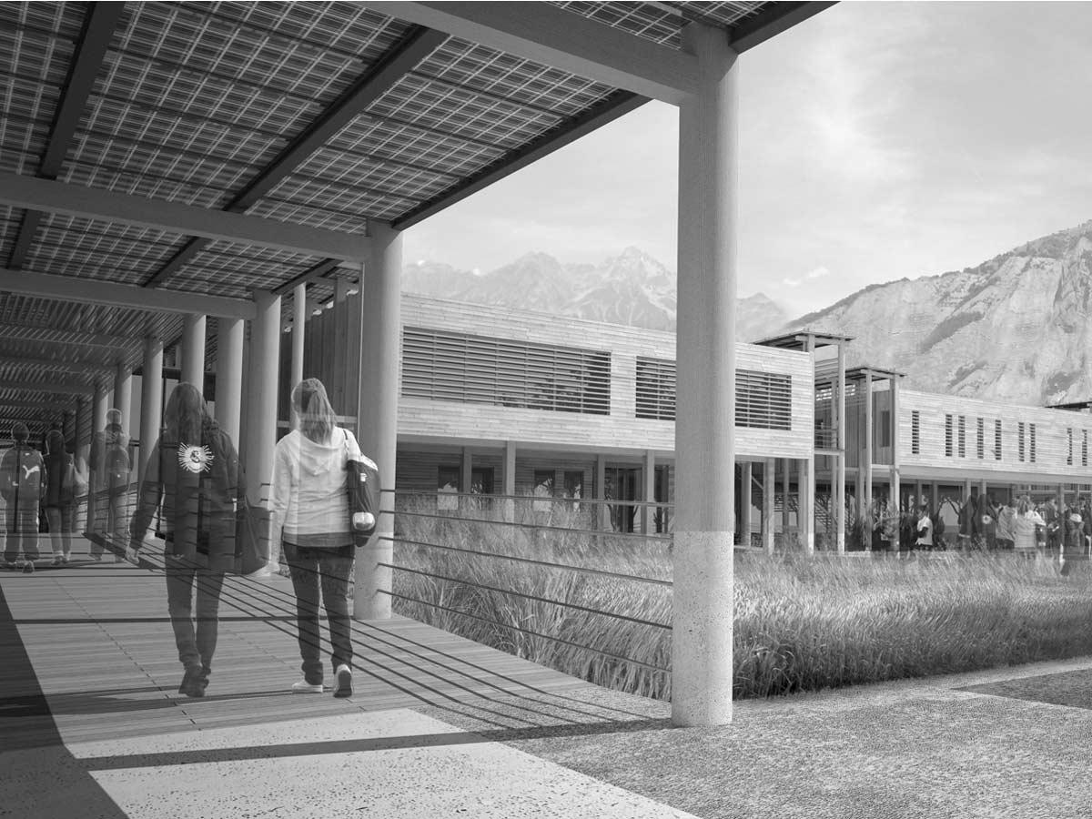 Insersion 3D pour concours d'architecture : collège de Bourg d'oisans
