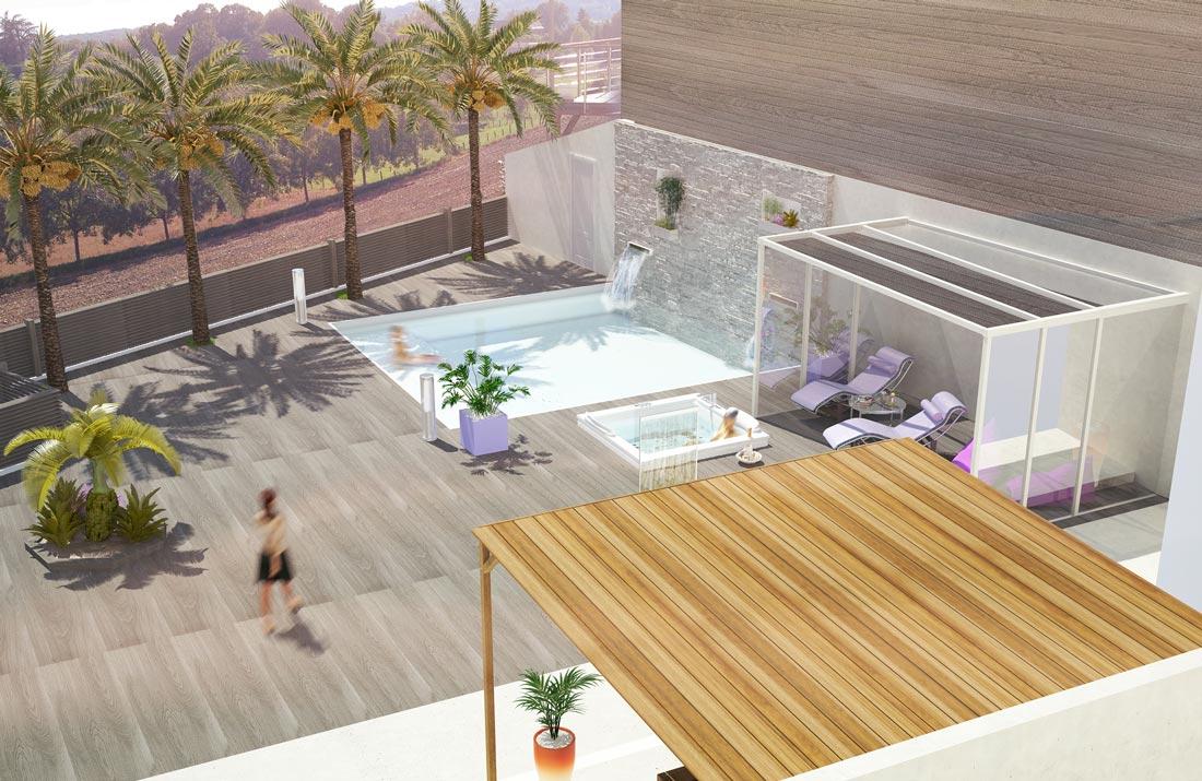 Perspective 3D aménagement extérieur