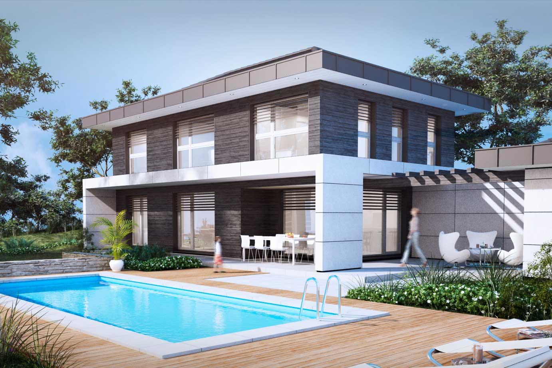 Perspective 3D d'extérieur : maison d'architecte