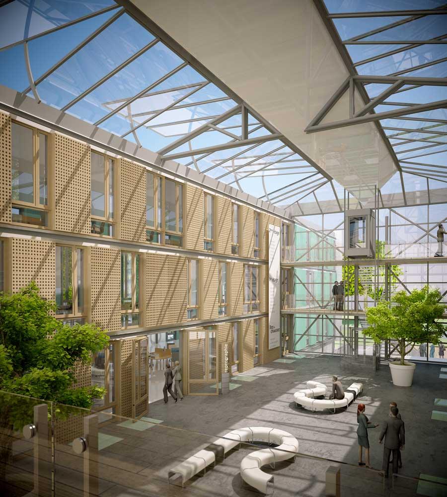 Perspective 3D pour concours d'Architecture bureaux