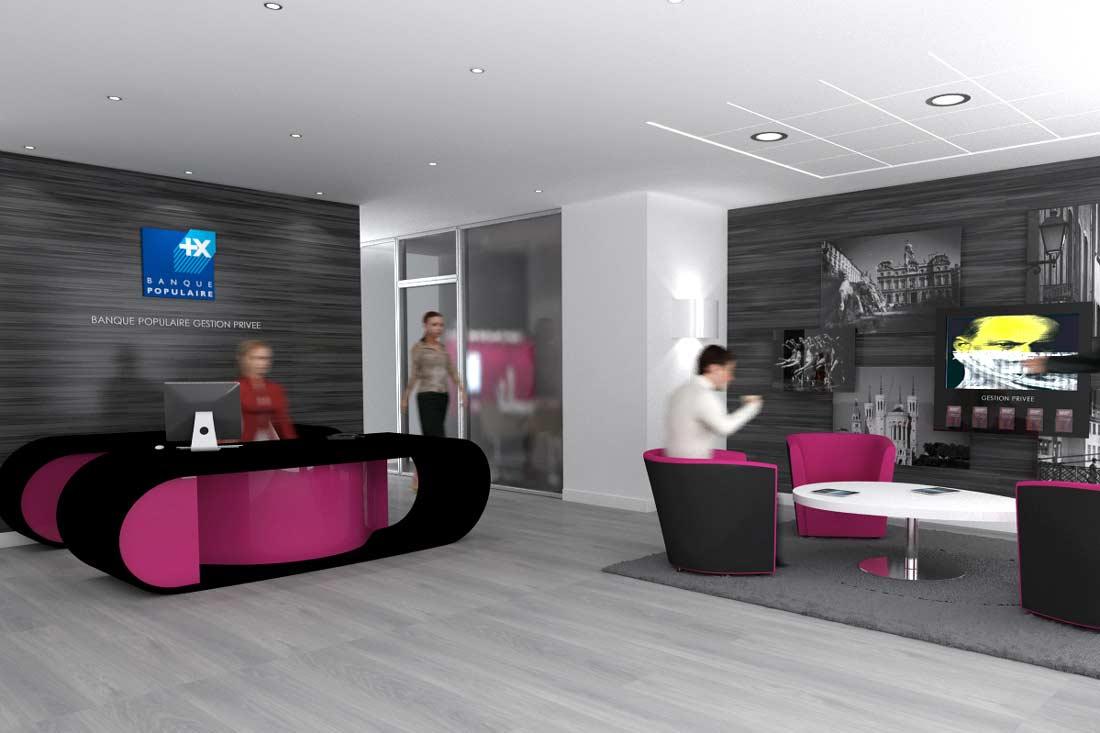 3D intérieur architecture commerciale Banque Populaire Gestion Privée