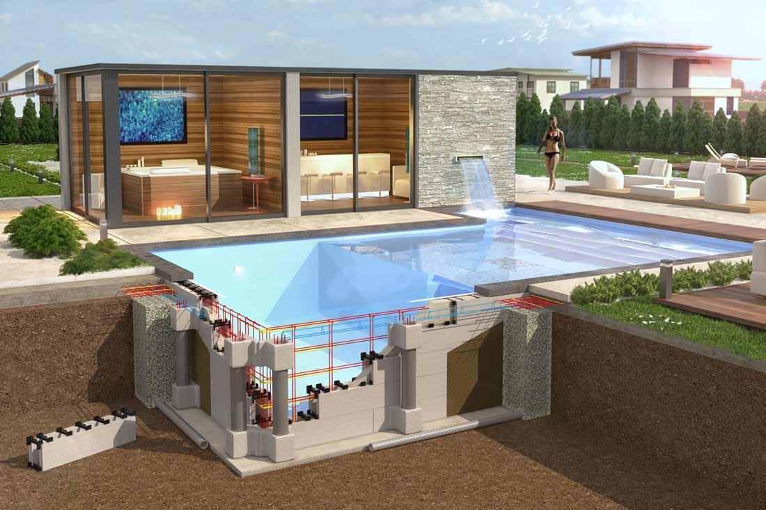 Coupe éclatée 3D d'une piscine