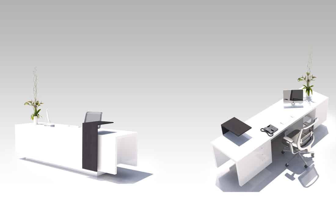 Modélisation et rendus 3D meuble guichet