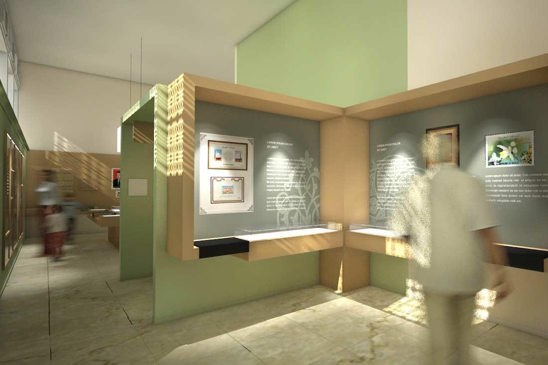 Illustration 3D du musée de la poste au Maroc