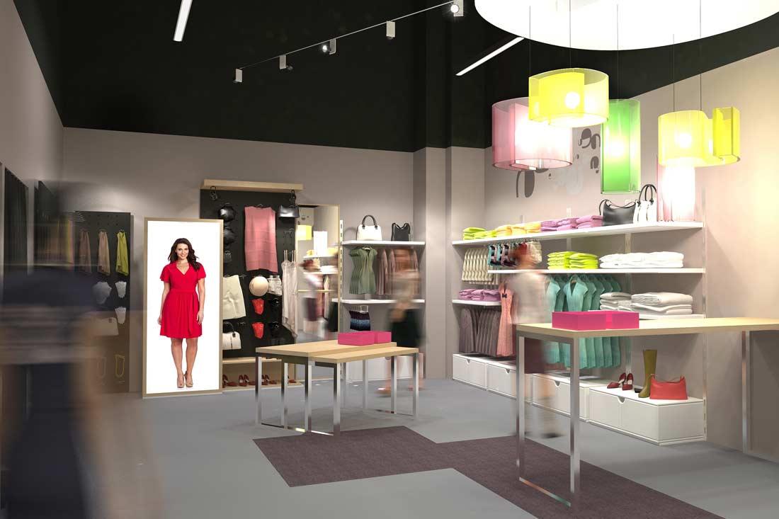 Illustration 3D retail de la boutique les filles de neaux