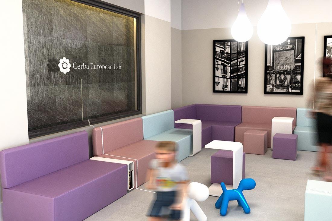 Image 3D d'intérieur de la salle d'attente du laboratoire Cerba