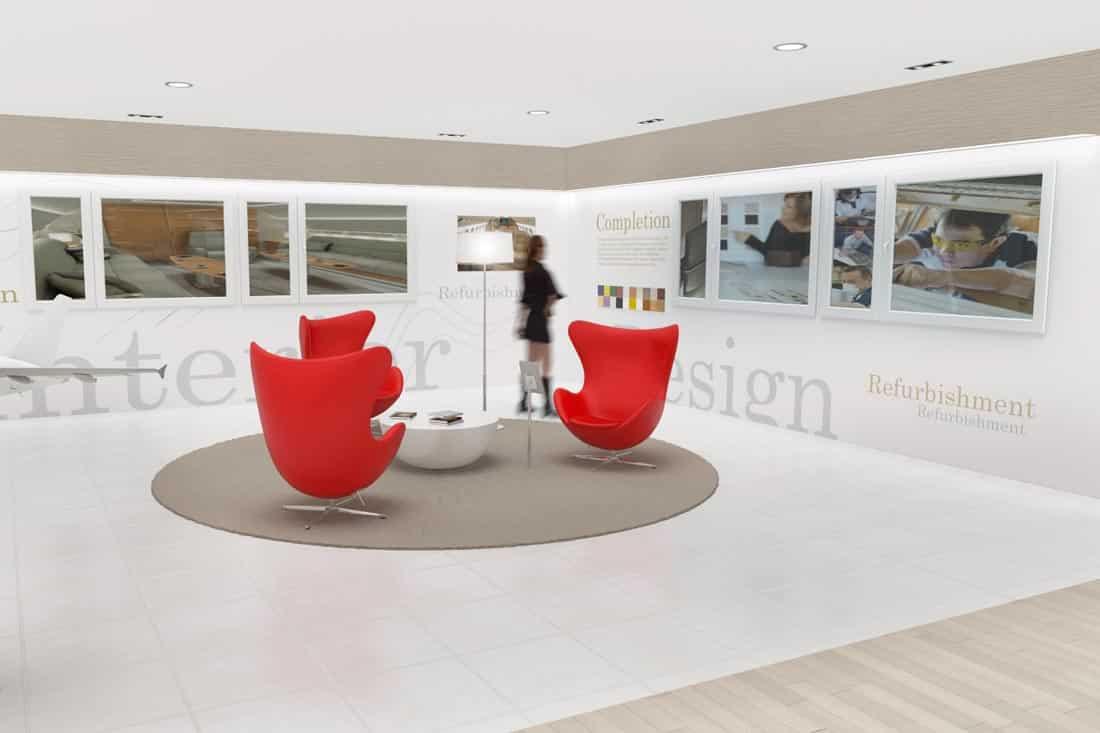 Image 3D du showroom Jet Aviation