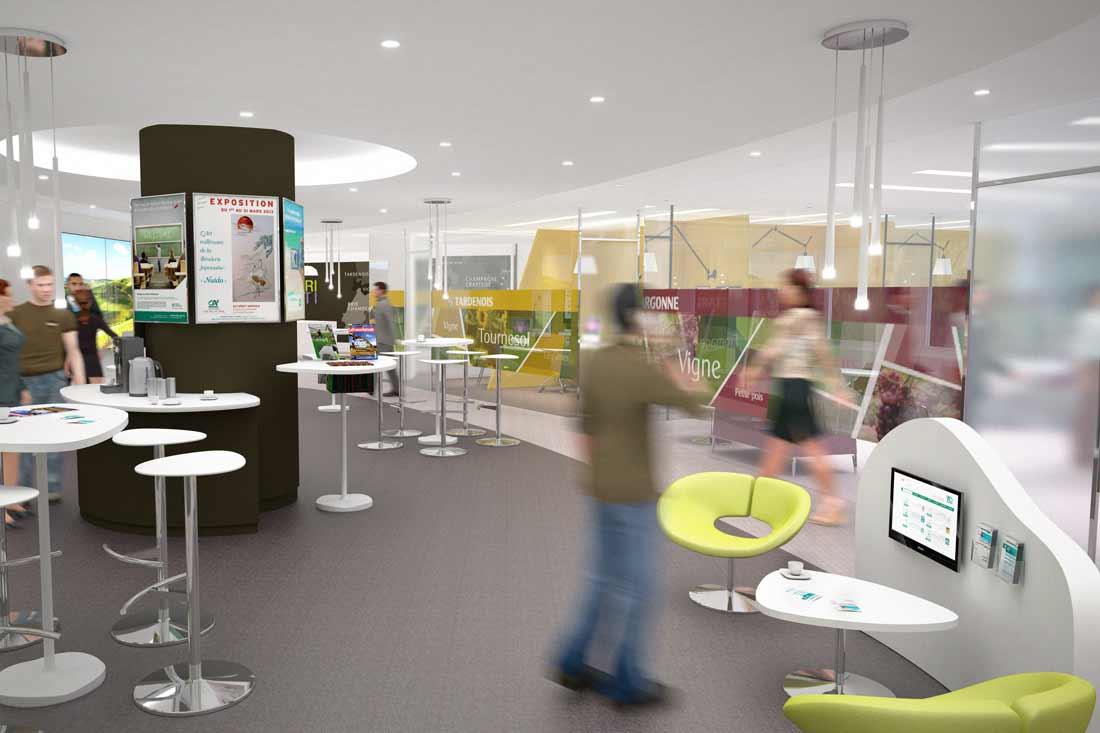 Images 3D agencement architecture commerciale du Crédit Agricole Nord Est