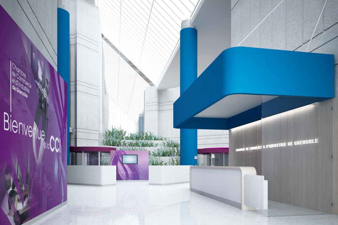 Maquette 3D accueil CCI Grenoble