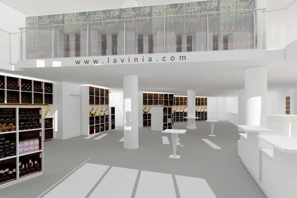 Maquette 3D du Facing chez le caviste Lavinia