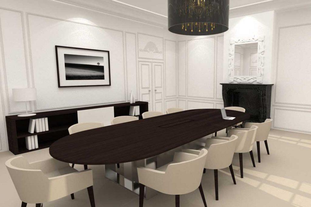 Maquette 3D de l'aménagement du salon de la Caisse d'Epargne