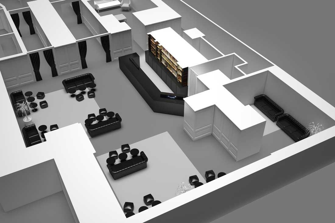 Maquette 3D vue axonométrique du Bar Le Magnifique