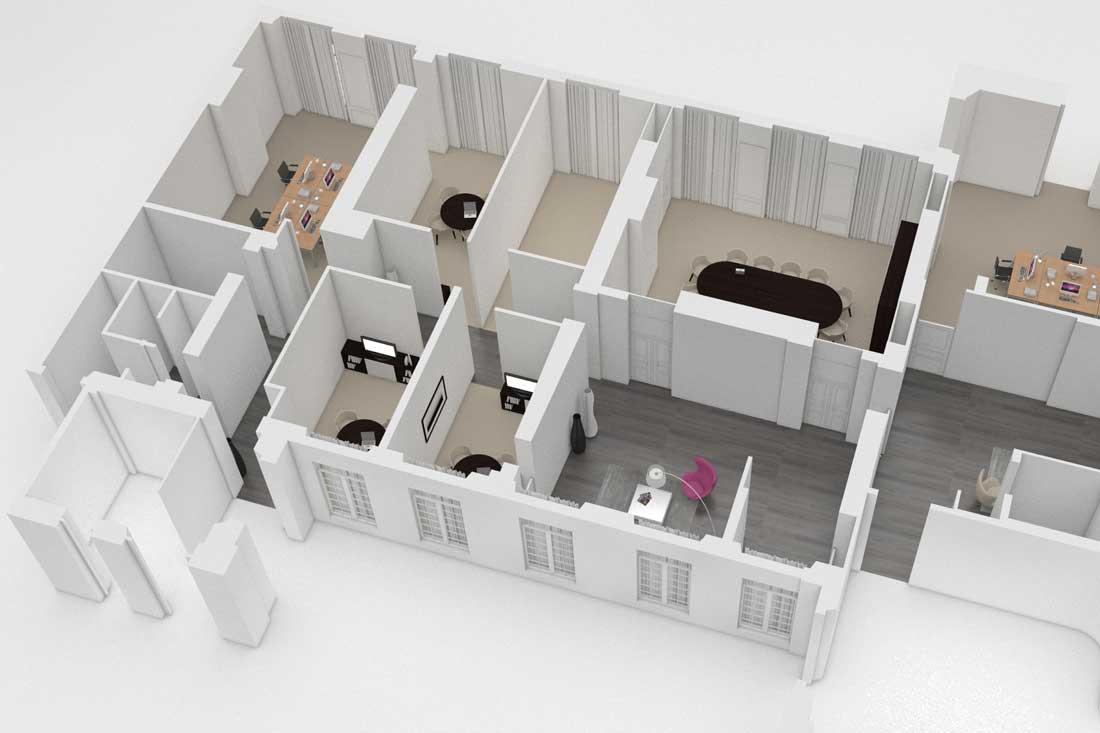 Maquette 3D vue axonométrique caisse d'Epargne