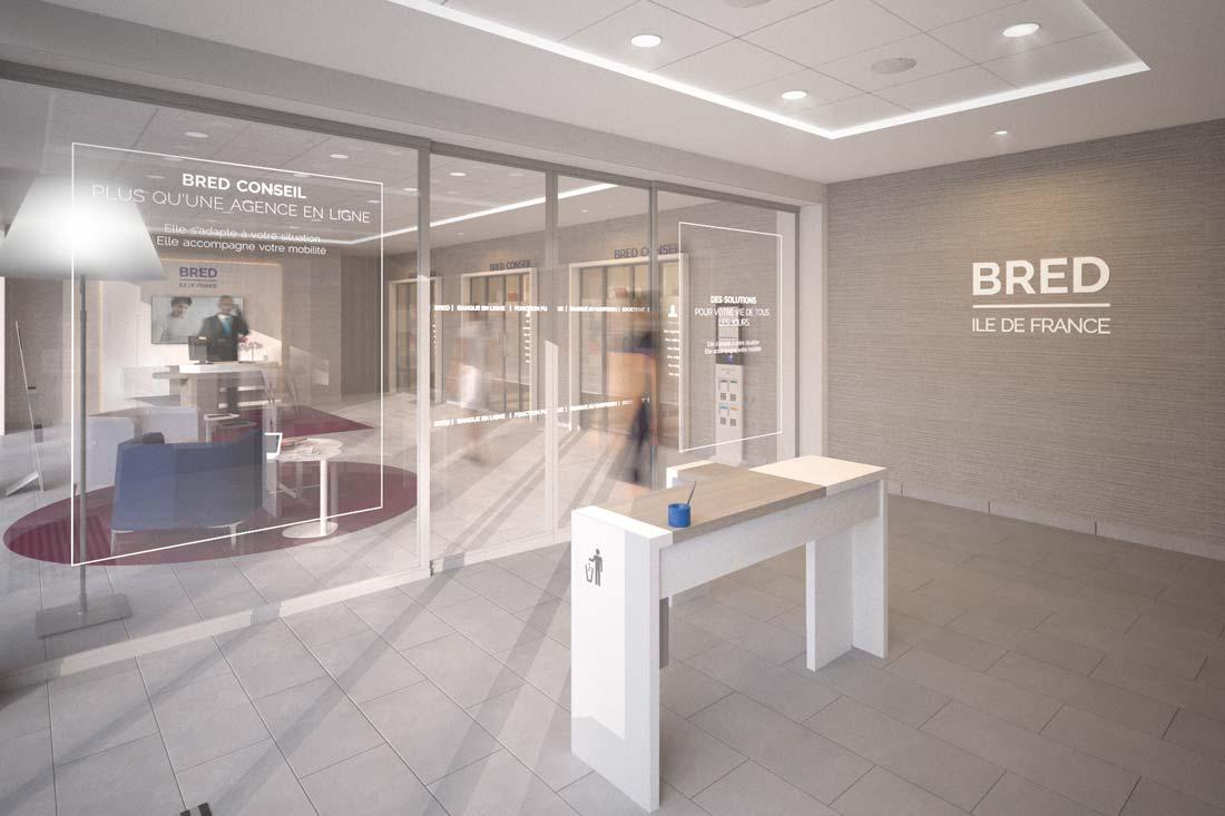 Modélisation 3D architecture commerciale banque privée Bred