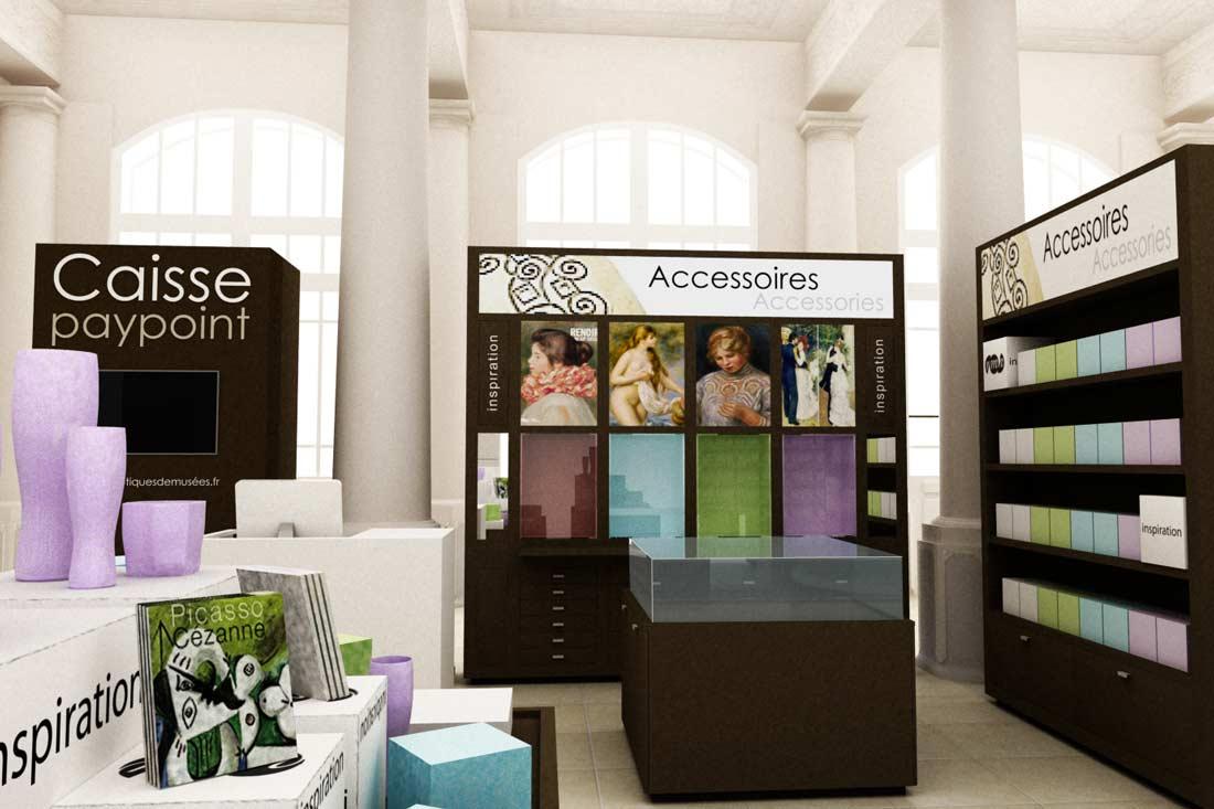 Modélisation 3D des meubles de la boutique du Musée d'Orsay