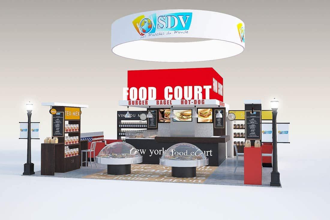 Modélisation 3D stand Food Court