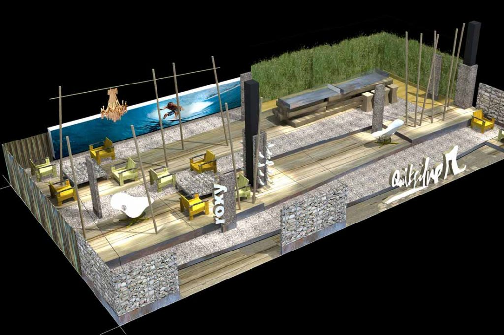 Modélisation 3D d'un stand Quiksilver
