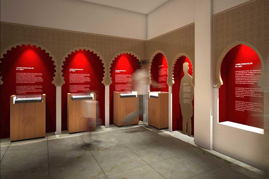 Modélisation et rendu 3D scénographie musée de La Poste au Maroc