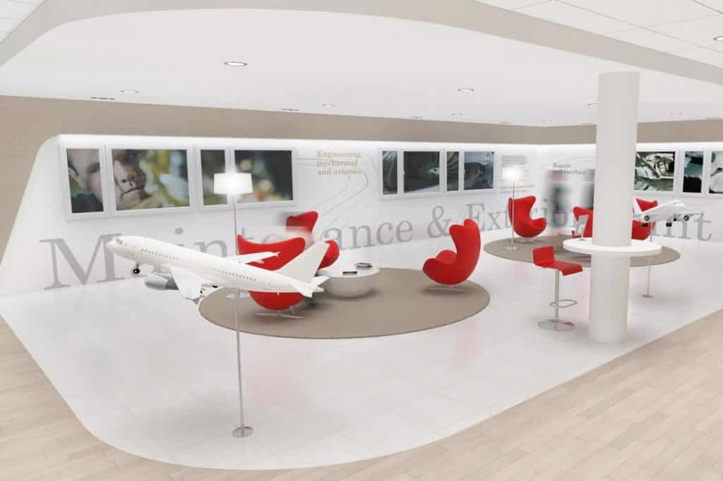 Perspective 3D du showroom Jet Aviation