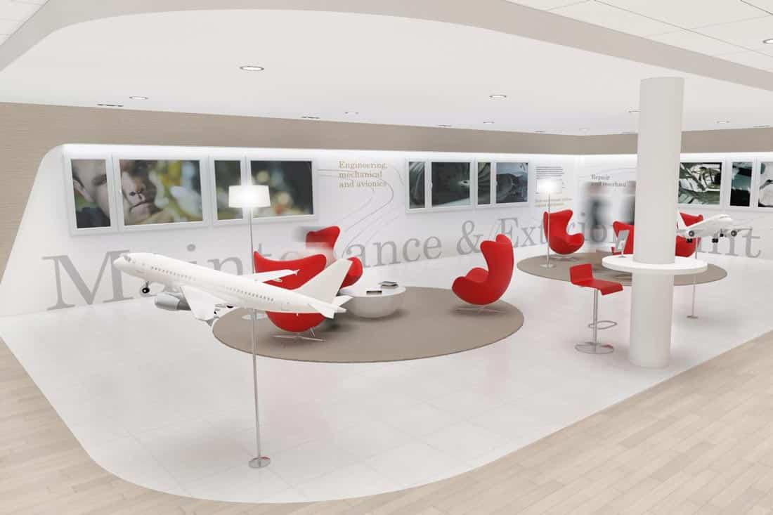 Perspective 3D du showroom Jet Aviation