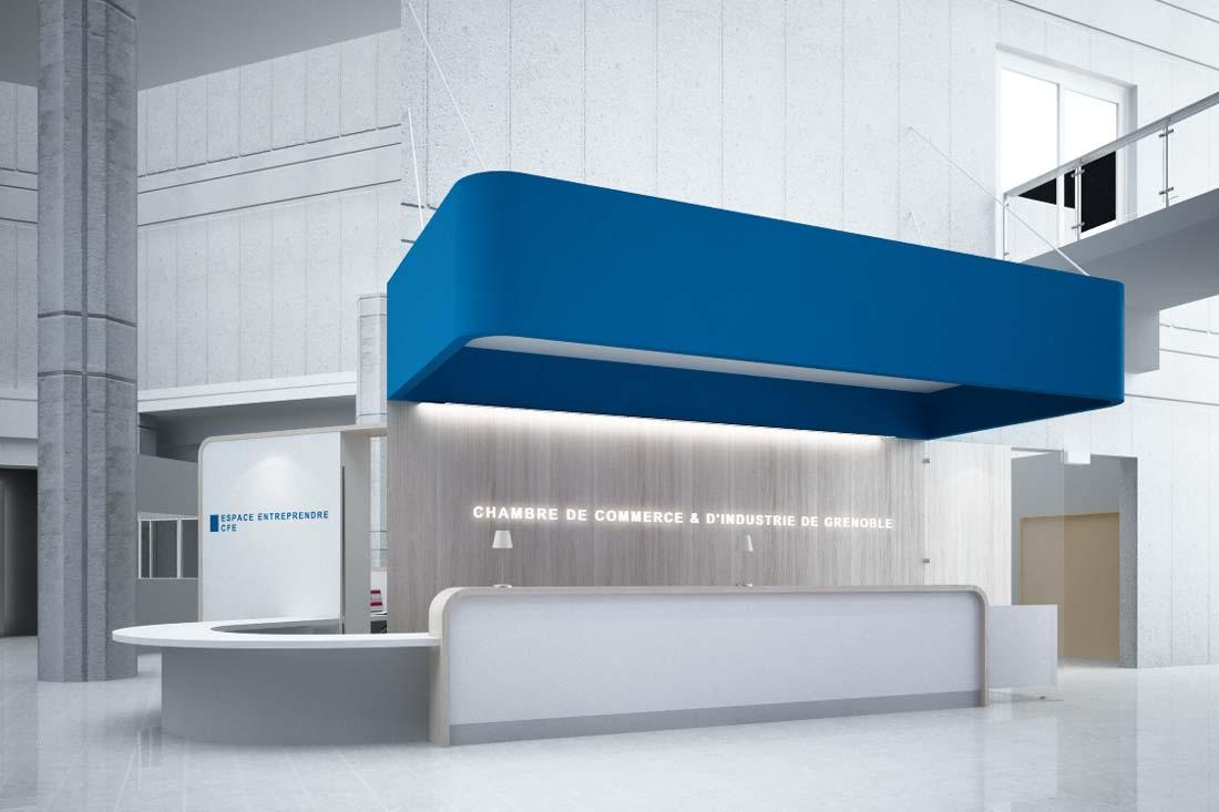 Perspective 3D accueil CCI Grenoble