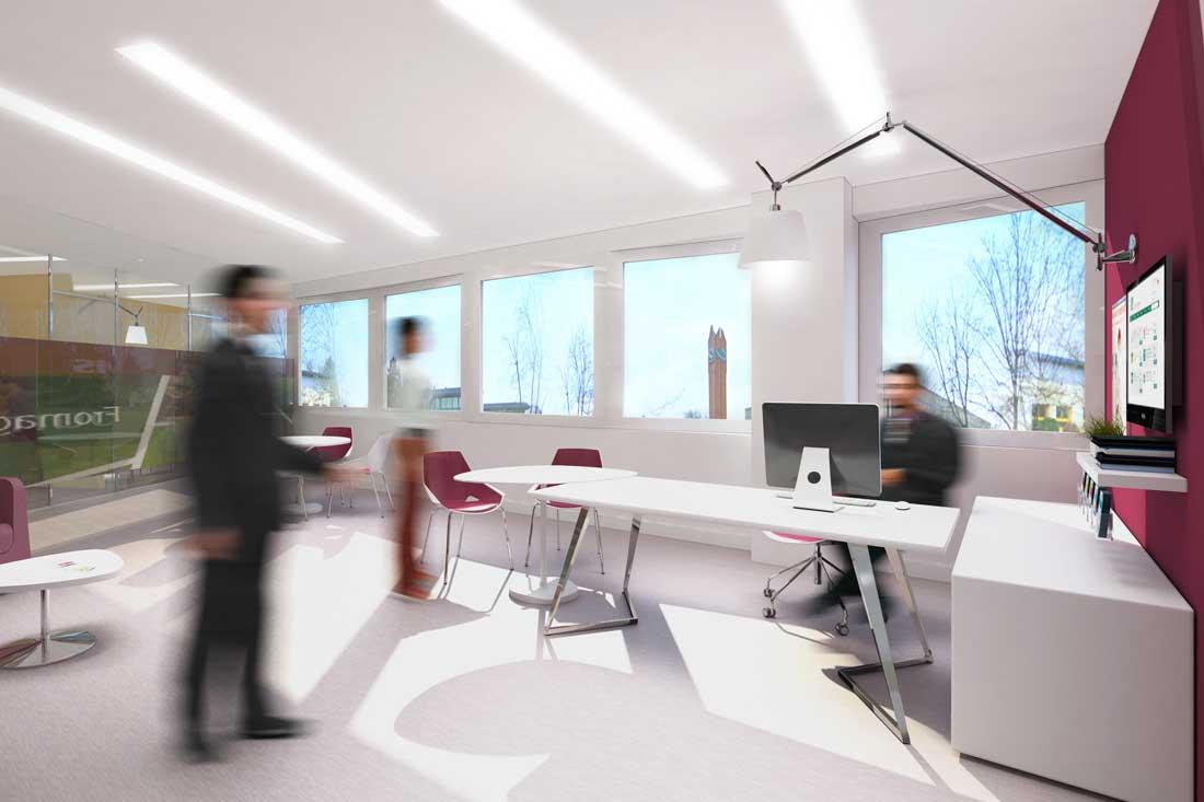 Perspective 3D agencement du siège du Crédit Agricole Nord Est