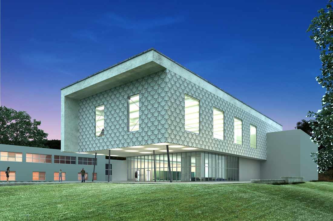 Perspective 3D d'un bâtiment industriel