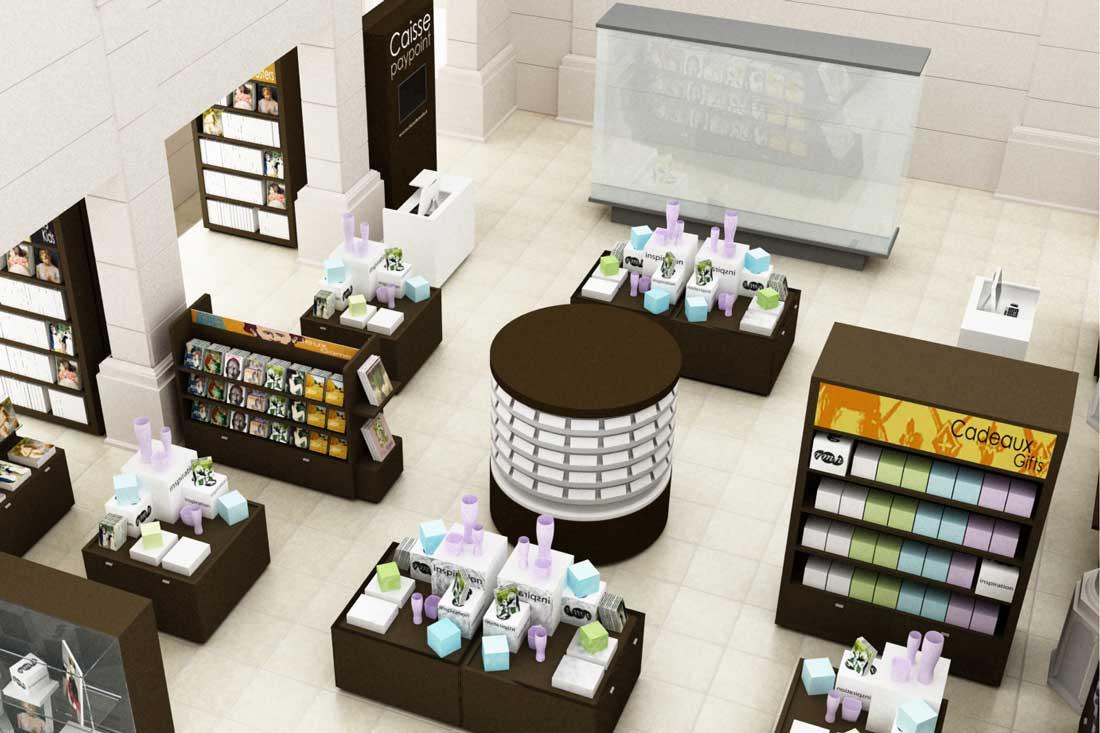 Perspective 3D du concept de la boutique du Musée d'Orsay