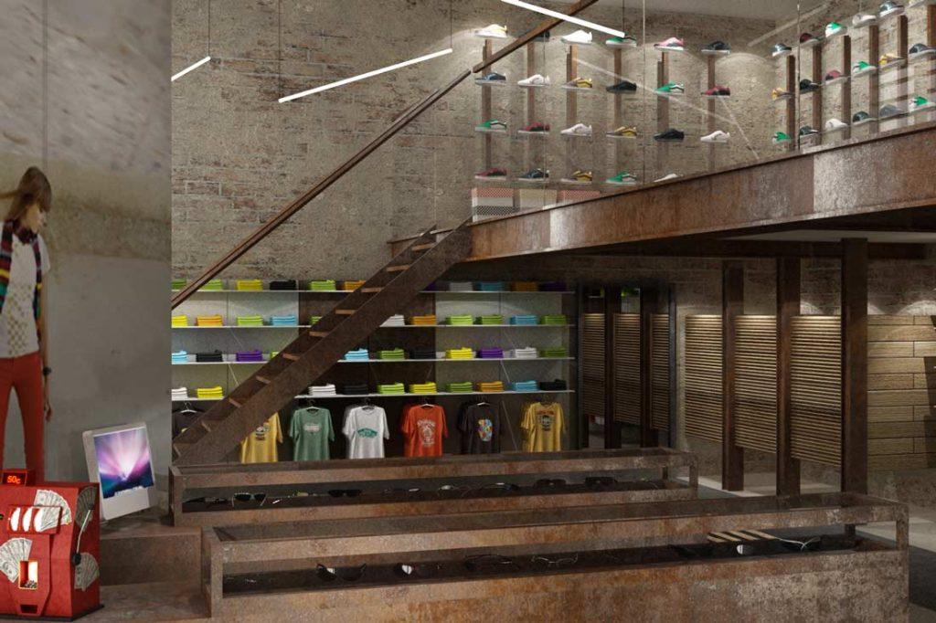 Perspective 3D du concept de la boutique Nevada