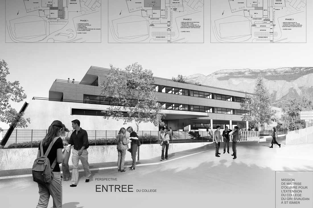 Perspective 3D pour le concours d'architecture du collège de St Imier