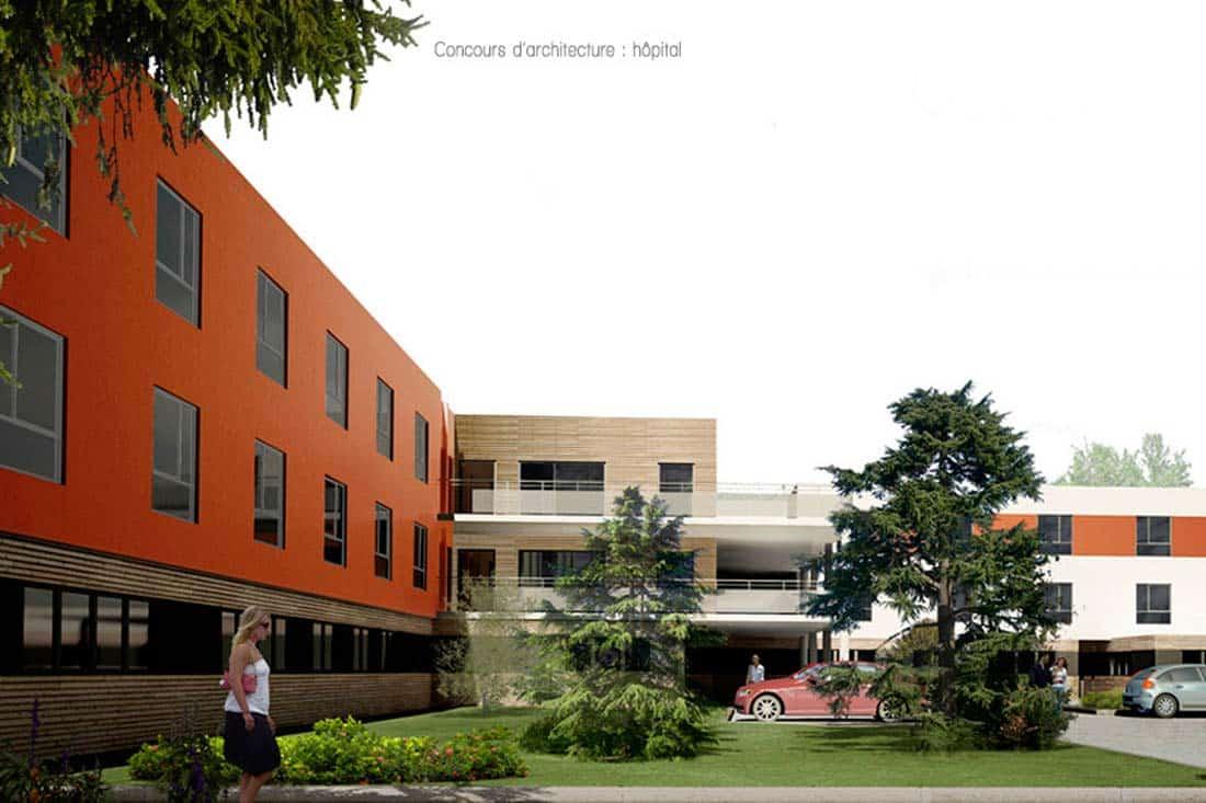 Perspective 3D pour le concours d'architecture de hôpital de St Galmier