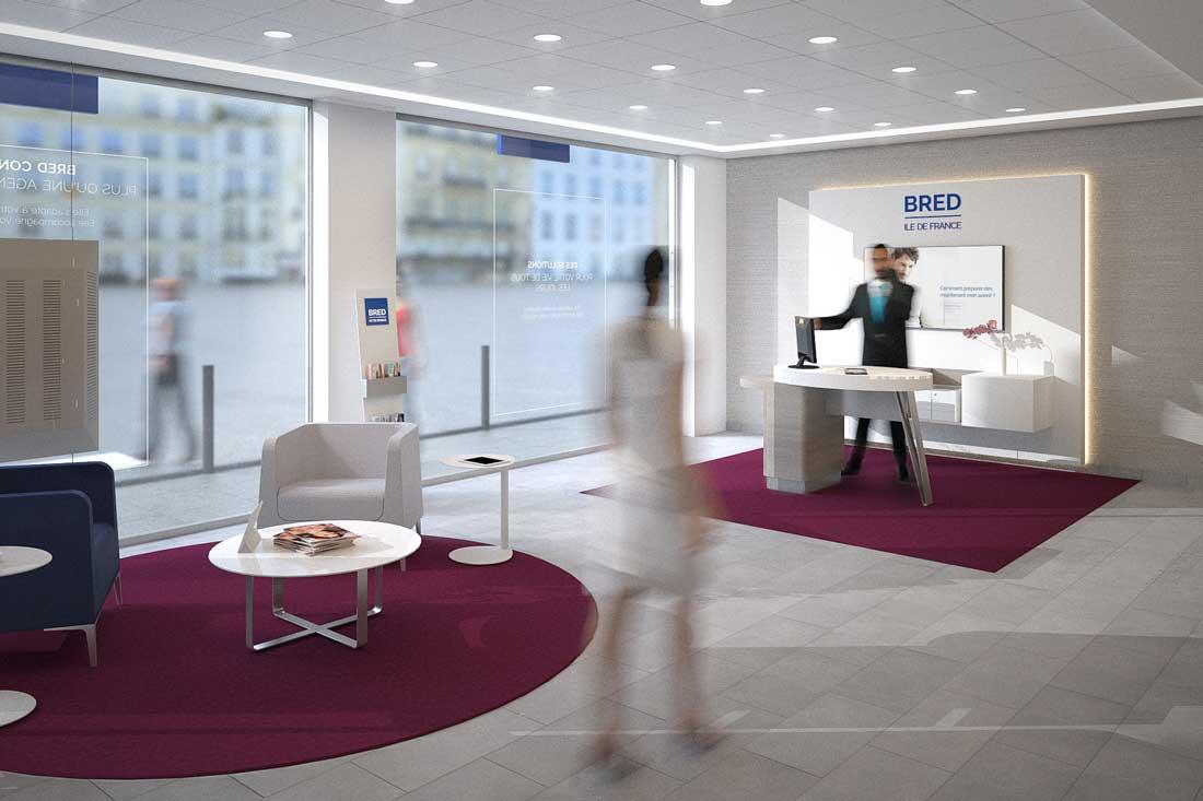 perspective 3D intérieur agence bancaire Bred