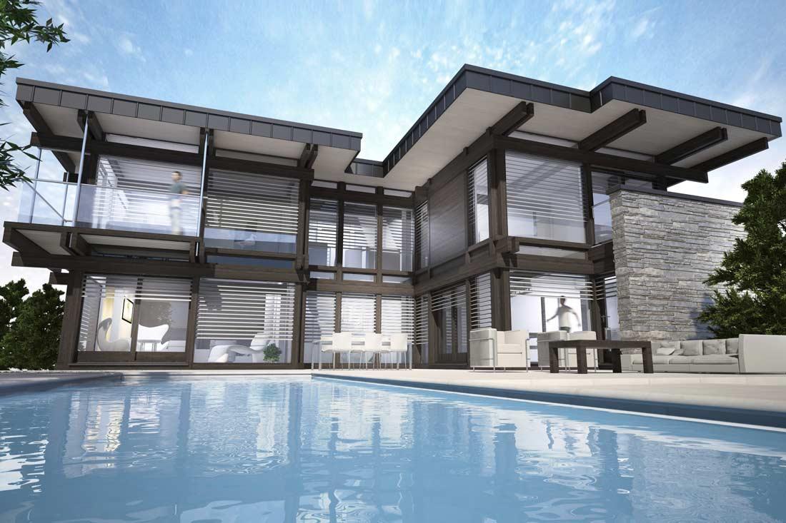 Perspective 3D d'une maison d'architecte