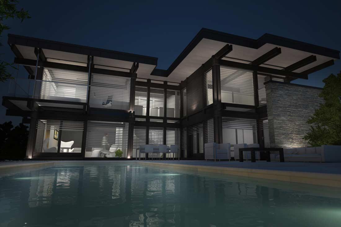 Perspective 3D d'une maison d'architecte de nuit