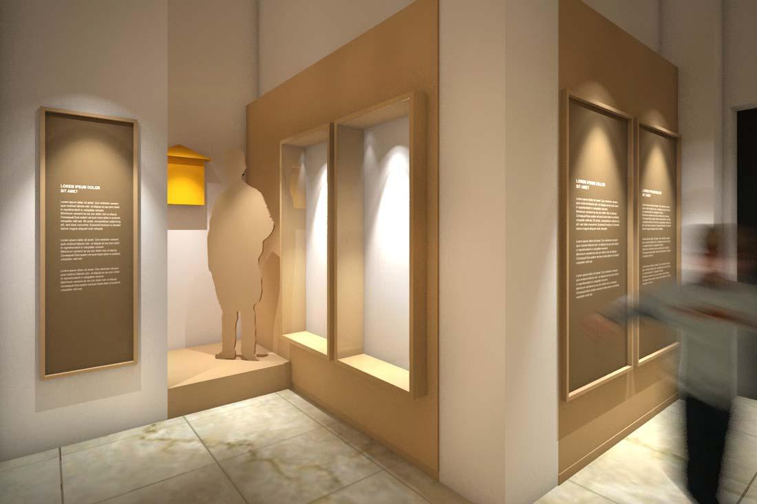 Perspective 3D scénographie musée de La Poste au Maroc