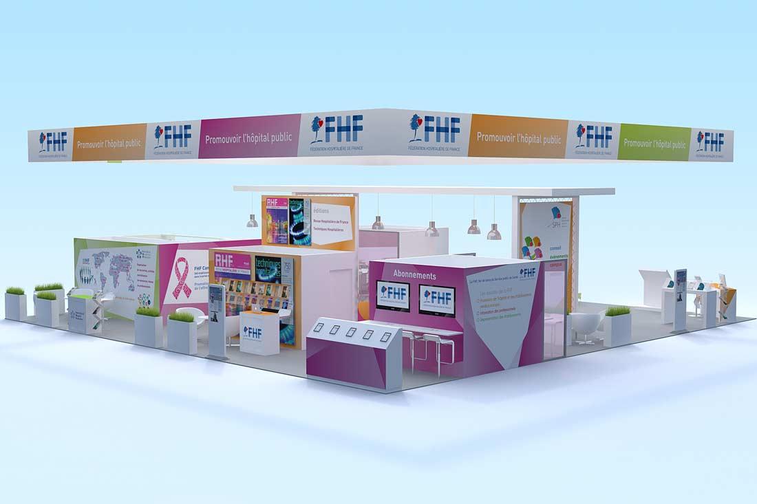 Perspective 3D stand Fédération Hospitalière de France