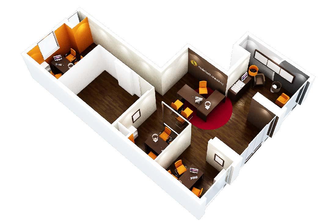 Plan 3D de l'agencement de l'agence Malakoff Médéric