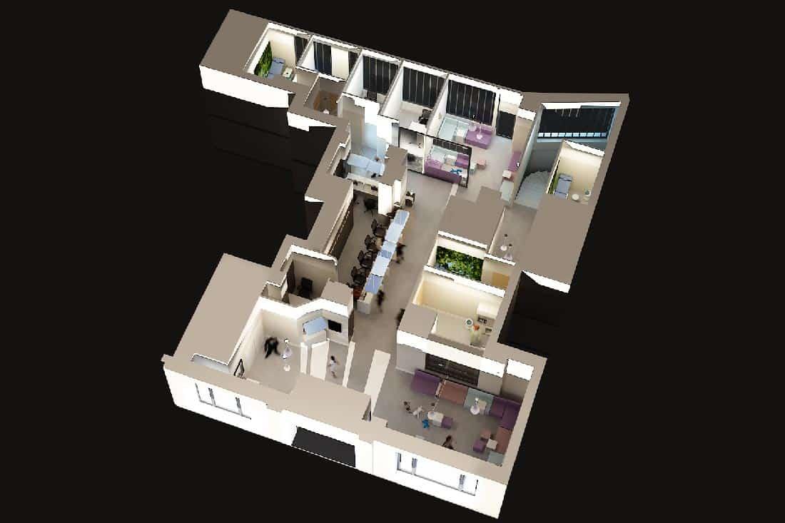 Plan 3D de l'agencement du laboratoire Cerba