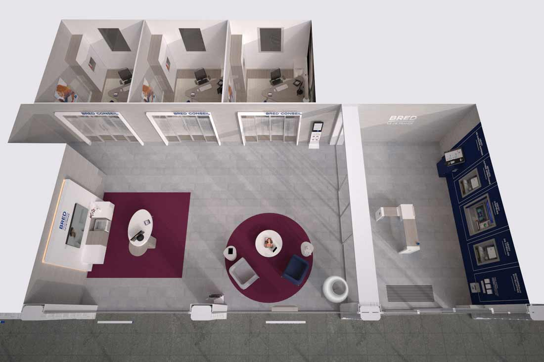 Plan 3D architecture commerciale agence bancaire Bred