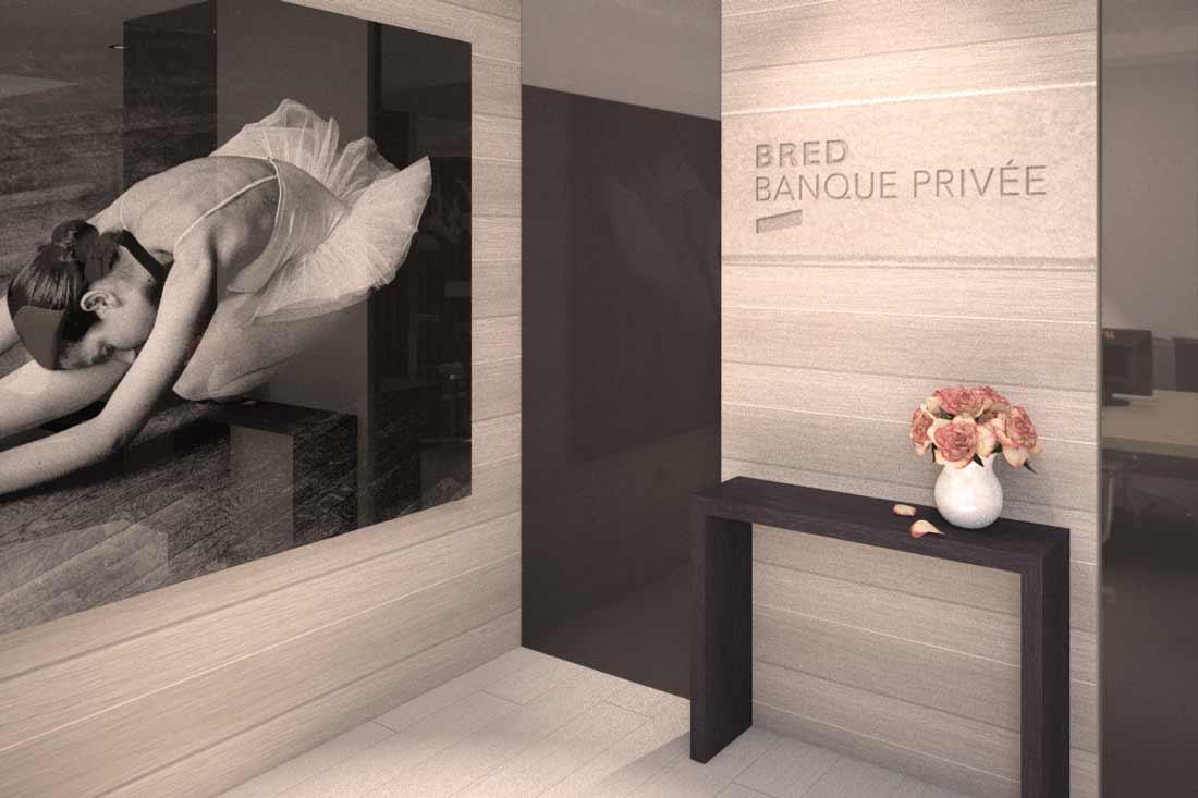 rendu 3D architecture commerciale Bred Gestion Privée