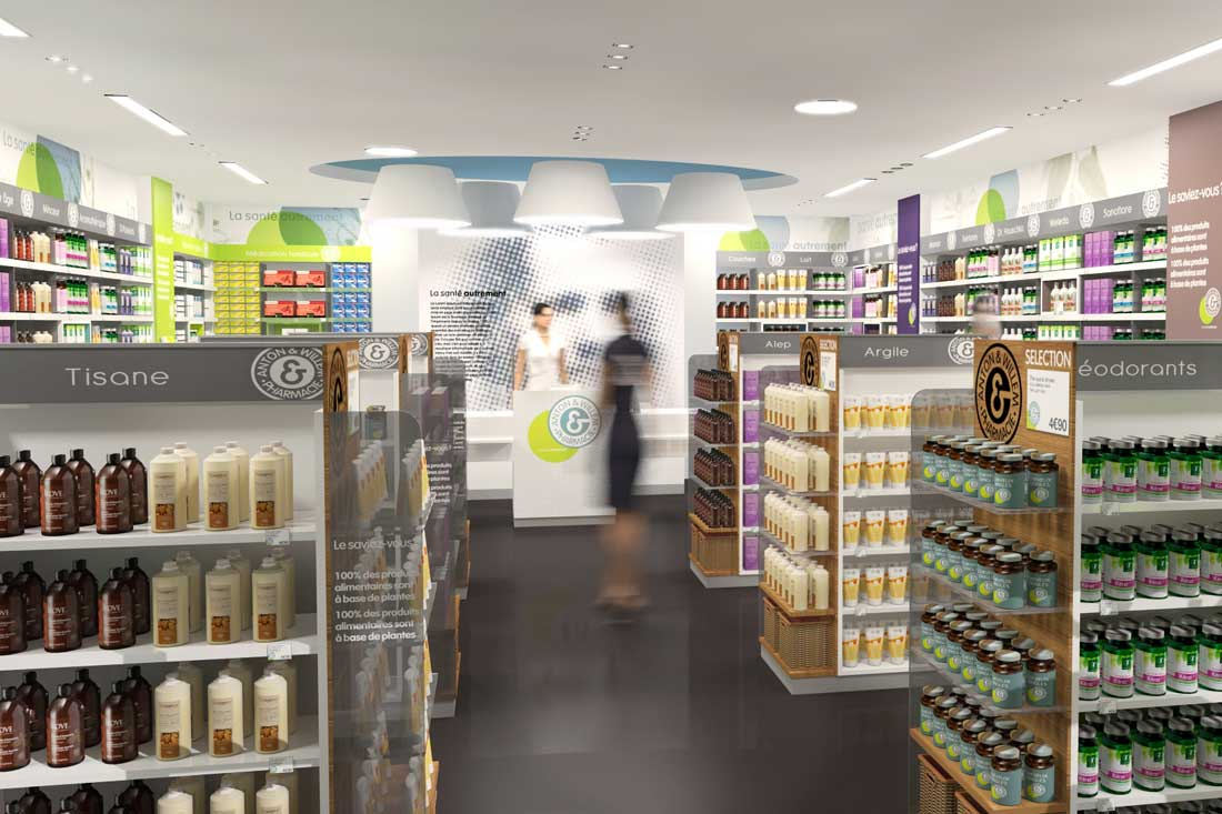 Rendu 3D retail : pharmacie Aton & Willem