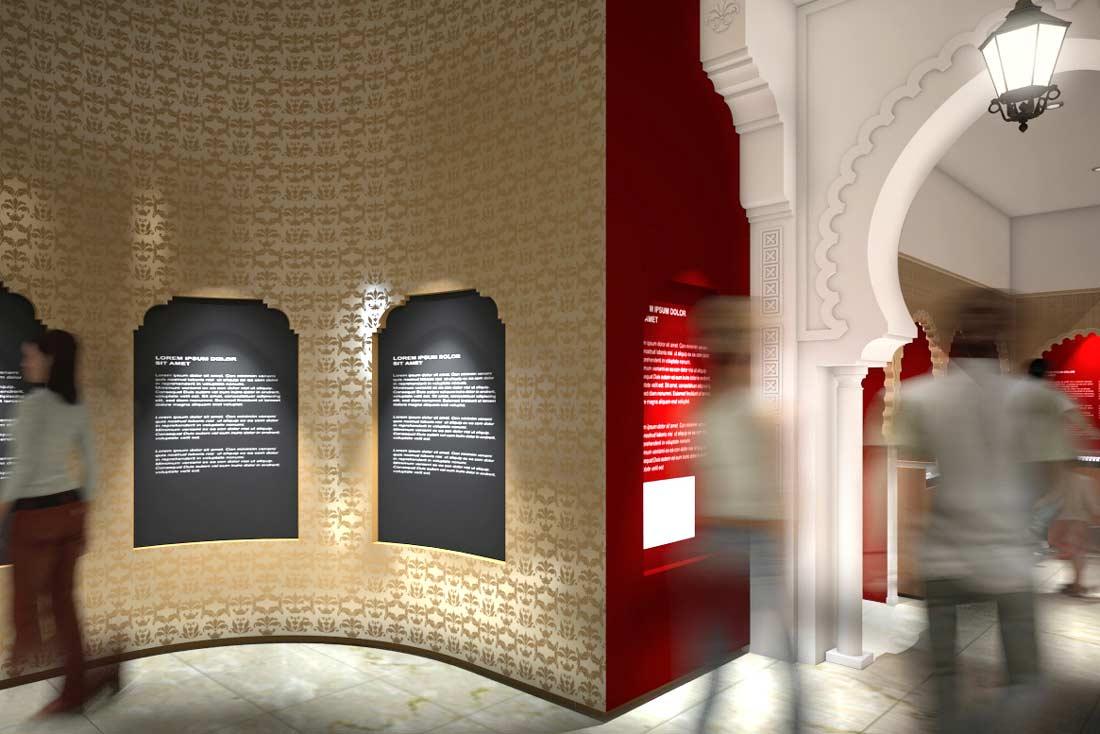 Rendu 3D de la scénographie du musée de la poste