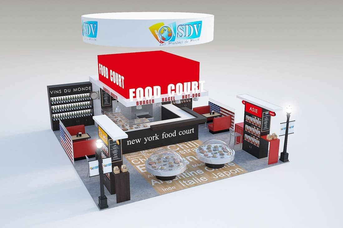Rendu 3D stand Food Court de SDV
