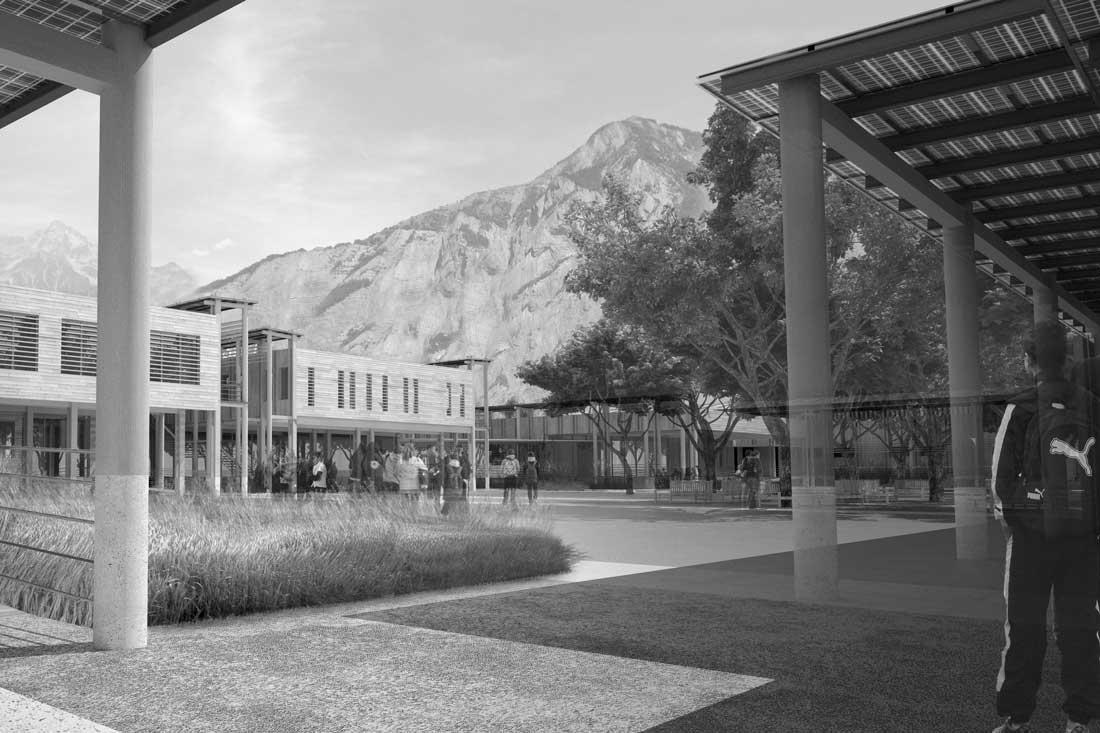Rendus 3D concours d'architecture : collège de Bourg d'Oisans
