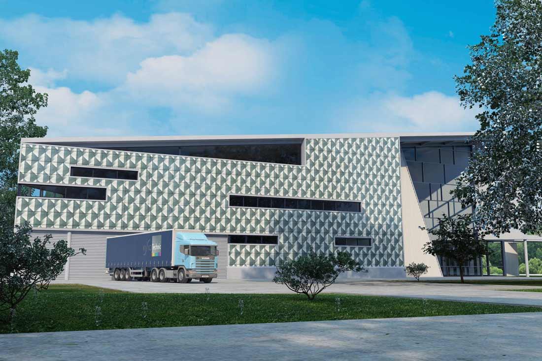 Simulation 3D : habillage façade de bâtiment industriel