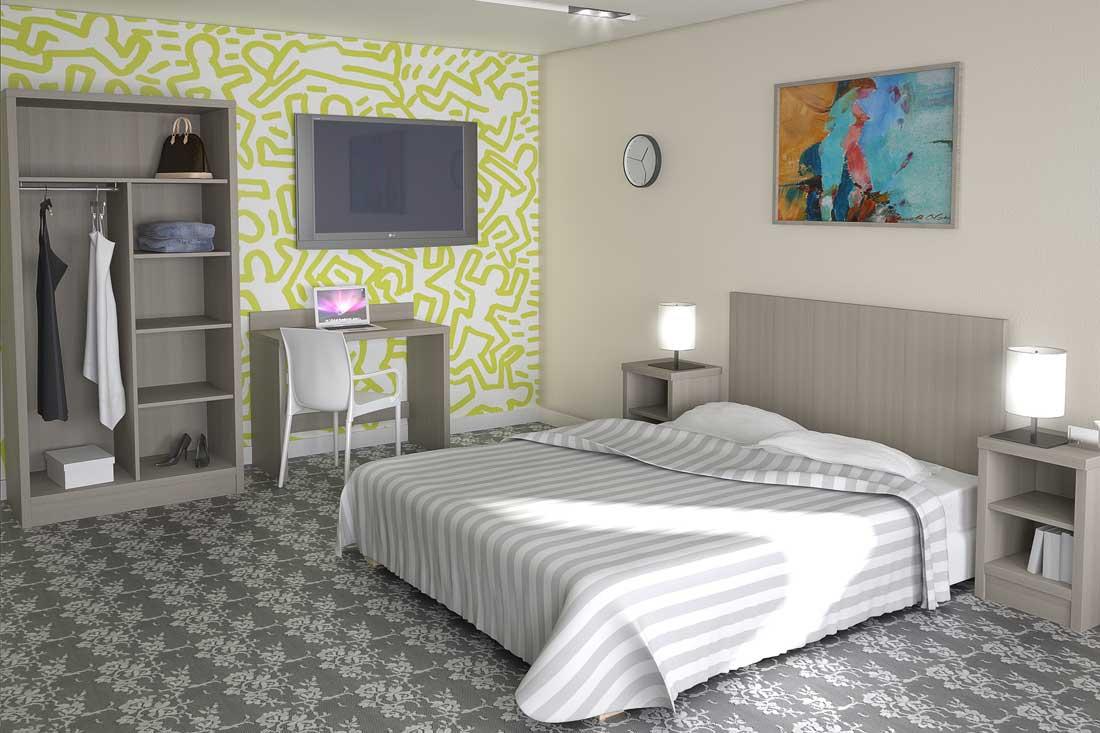 Simulation 3D meubles chambre hôtel