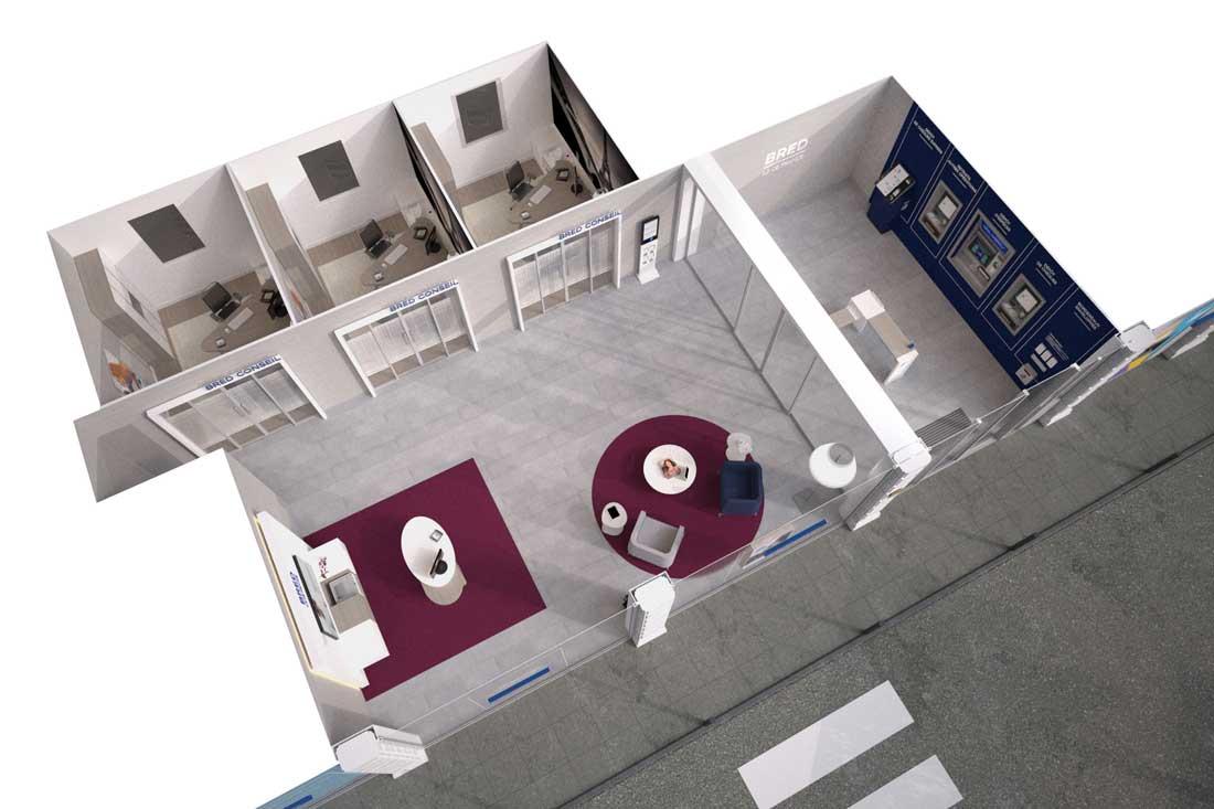 Vue 3D de l'agence bancaire Bred