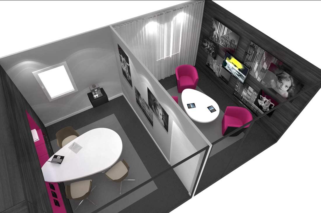 Vue 3D architecture commerciale Banque Populaire