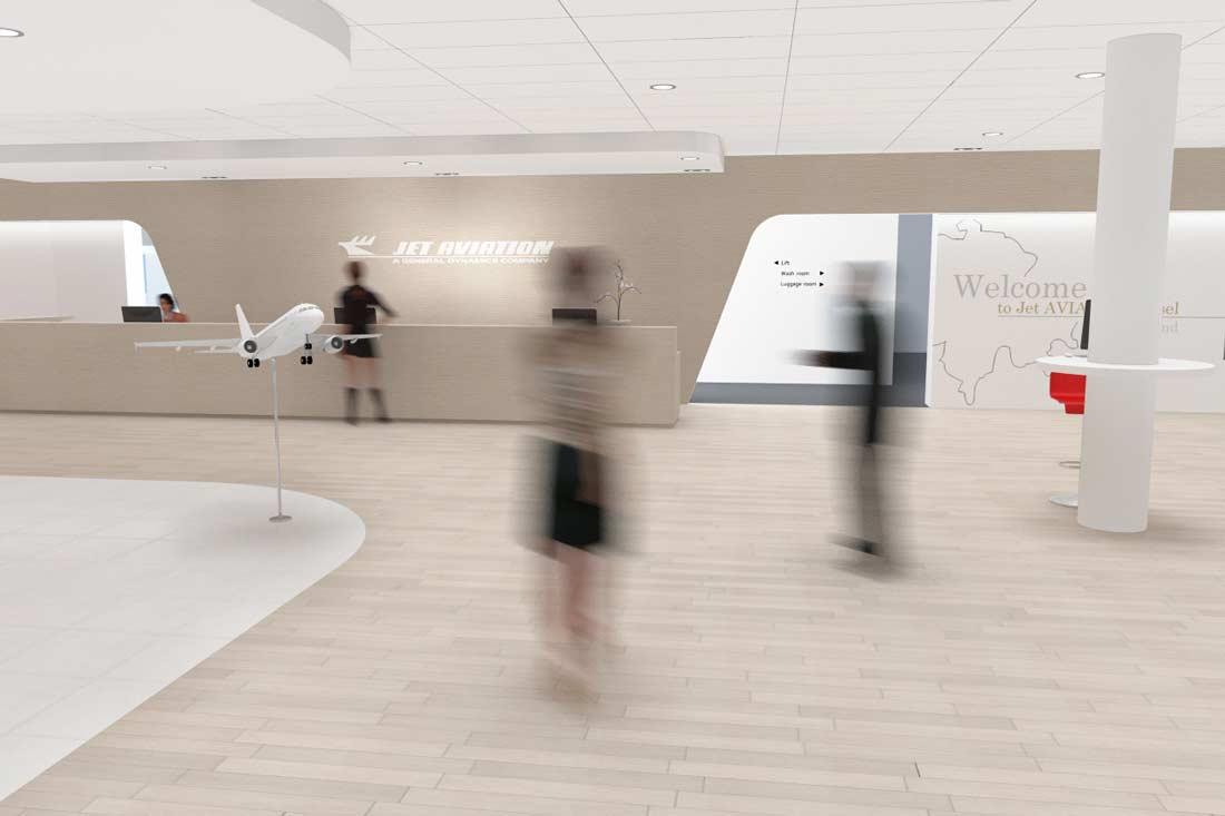 Vue 3D du showroom Jet Aviation