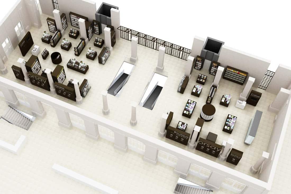Vue axonométrique 3D du musée d'Orsay